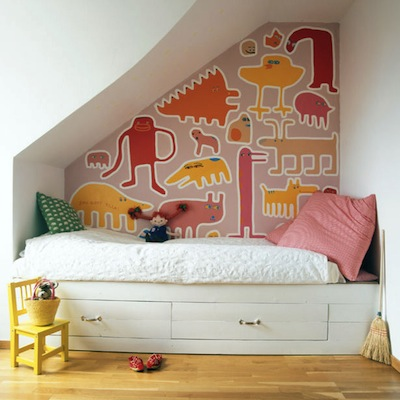 vibrant nook for kid's bed