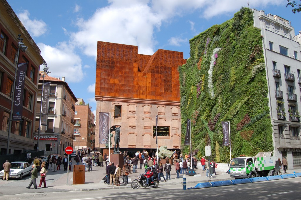 Green wall Caixa in Madrid Spain