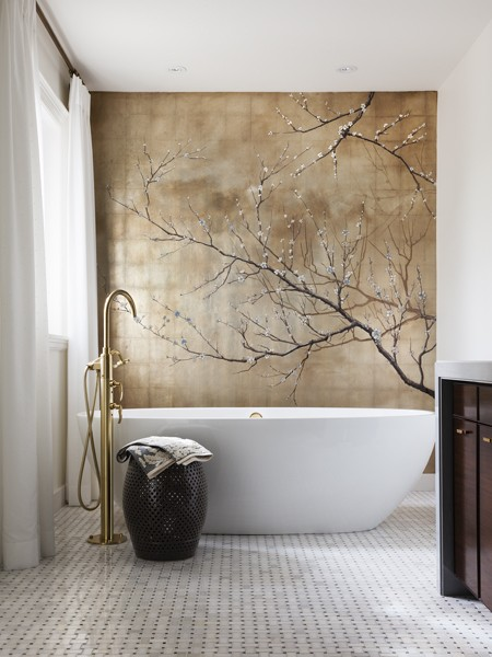 feminine bathroom with a wallpaper cherry blossom golden nature view