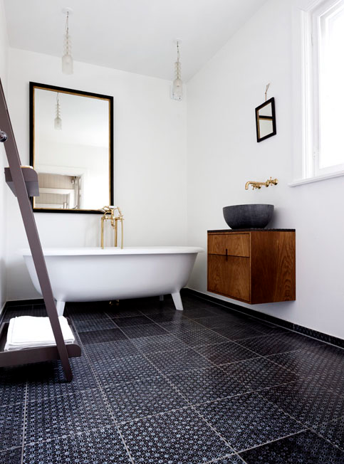 minimalist sparkling bathroom with gorgeous tile