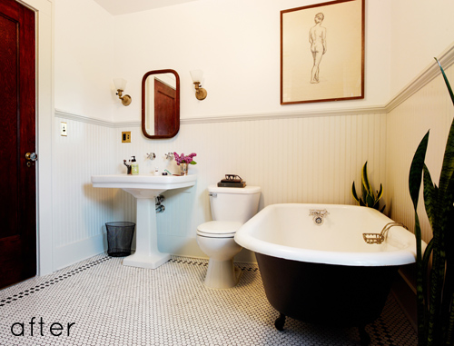 elegant bathroom makeover by Katherine via design sponge