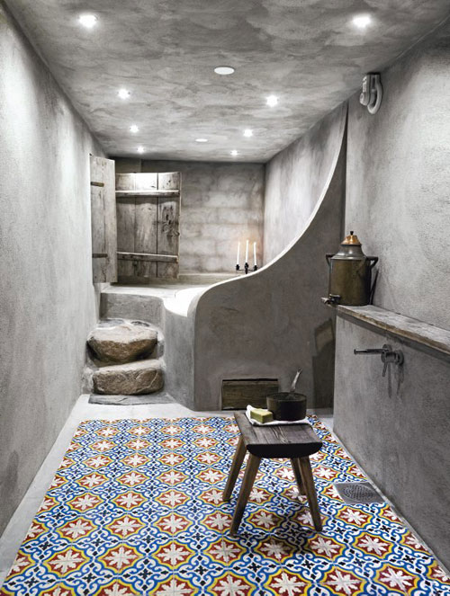 Romantic bathroom renovated with beautiful geometric floor tile