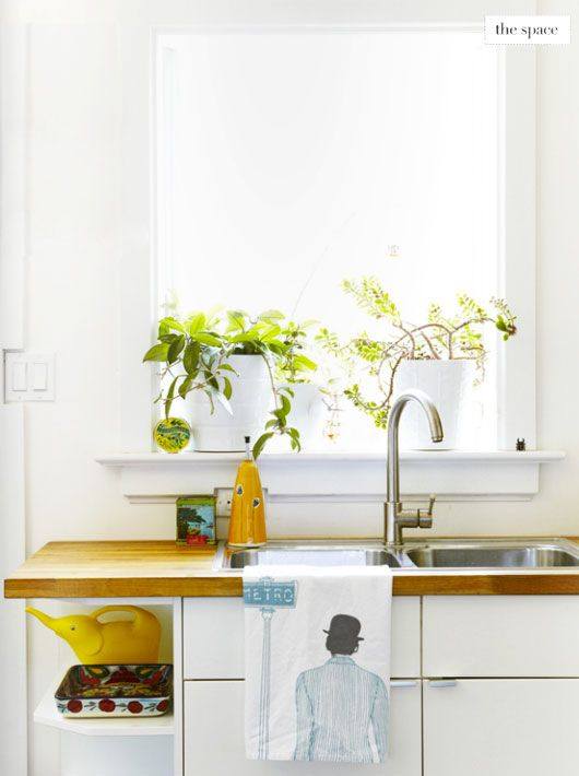 Kitchen with plants featured on covet garden  via sfgirlbybay