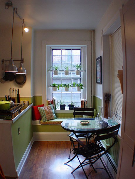 """Love, eat, party"" while you cook with plants in the window; they don't block the light in this lovely kitchen via apartment therapy"