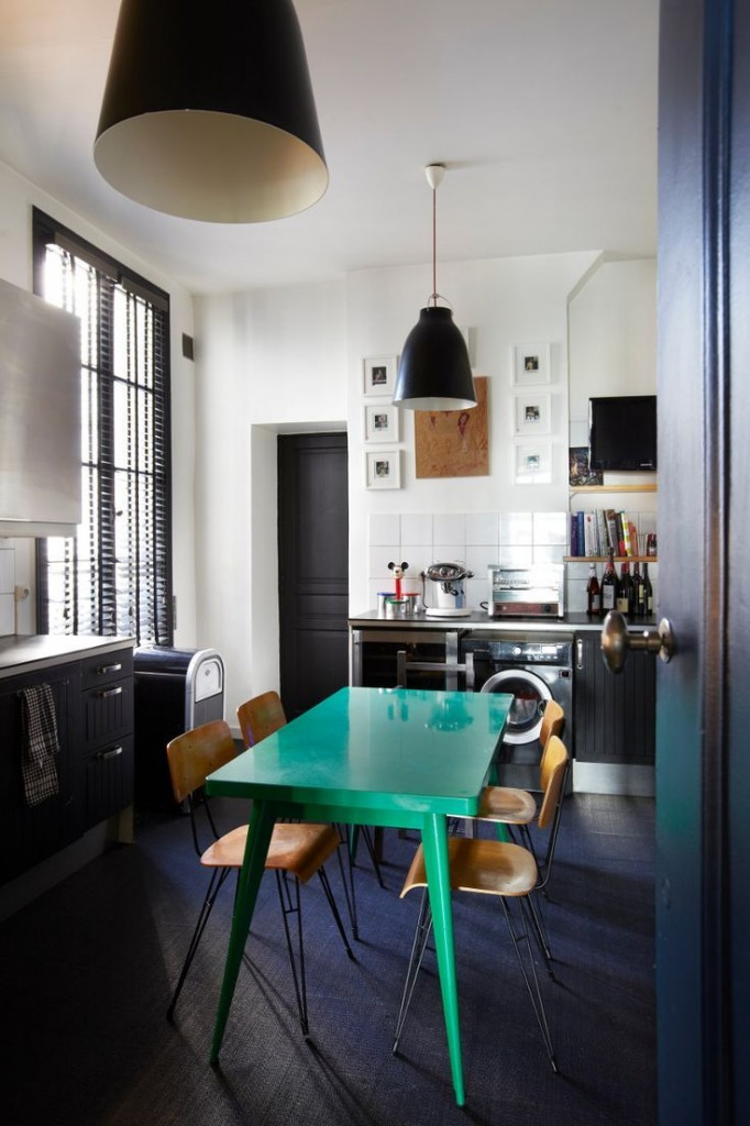 Sarah Lavoine's home in Paris via carnet-interior. Vibrant turquoise table.