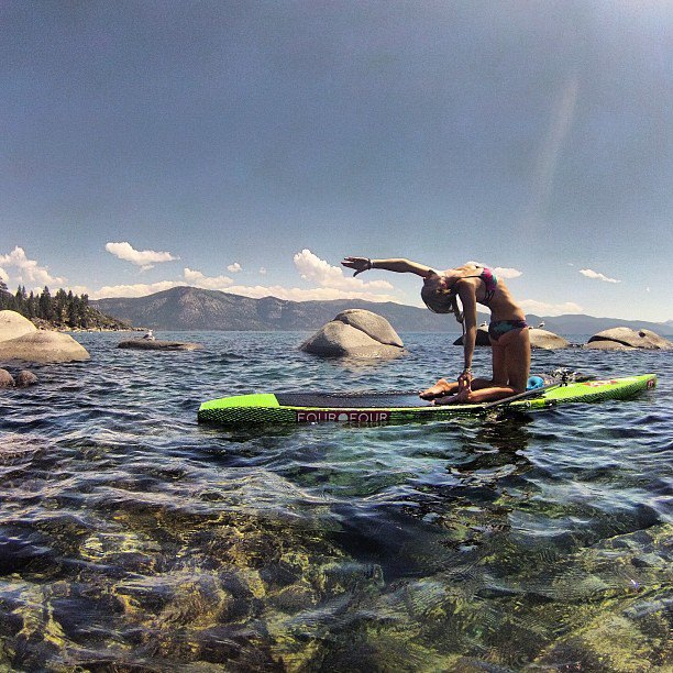 Gillian Gibree brought SUP Yoga to a whole other level on beautiful Lake Tahoe, California.