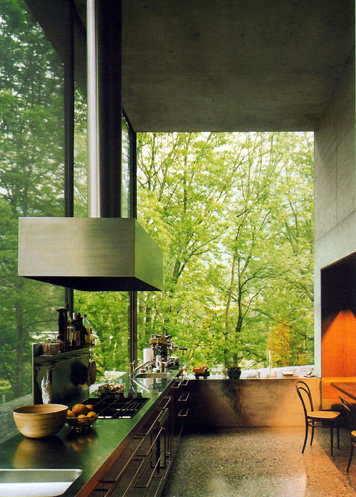 Kitchen with a beautiful view of trees