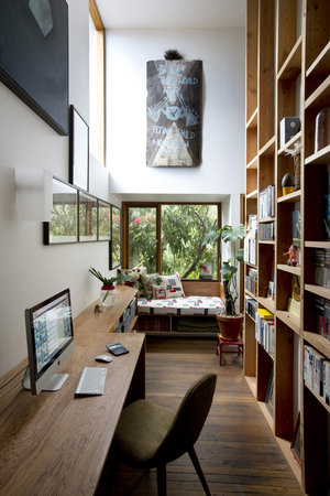 bright, narrow office space with light and natural wood via flor | awakening sacred flow